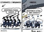 Carbón. Viñeta. Nuestros antidisturbios en acción. Jun. 2012. Autor: Ferrán Martín.