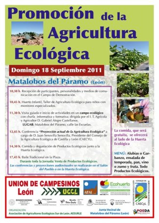 Cartel. Promoción de la Agricultura Ecológica, Matalobos del Páramo, 18 sept. 2011. Unecologistaenelbierzo.wordpress.com.