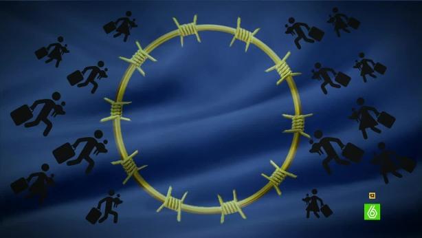 Viñeta. La UE se blinda contra la avalancha de refugiados sirios. 9 marzo 2016. LaSexta.com.