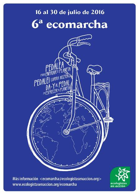Cartel. Ecomarcha 16-30 jul. 2016. Ecologistas en Acción.